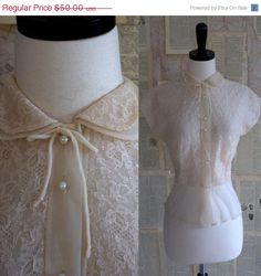1940s Ethereal Nude Lace Blouse $40.00