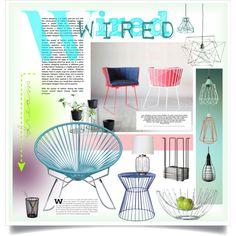 Wire inspired by sherbetfountain on Polyvore featuring interior, interiors, interior design, home, home decor, interior decorating, Innit, Safavieh, Foscarini and FilamentStyle