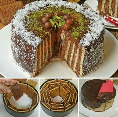 Spring cake pan and biscuits Pasta Cake, Cookie Recipes, Dessert Recipes, Turkish Recipes, Sweet Cakes, Yummy Cakes, No Bake Cake, Amazing Cakes, Sweet Recipes