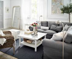 Fall into a beautiful home - ikea sofa in gray, accent chair in a different texture (here wicker)
