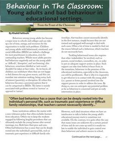 Behaviour in the Classroom in the Summer 2013 issue of Beyond Good Ideas Magazine http://sisgigroup.org/2013/07/bgi-summer-2013/ #youth #education