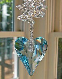 "Swarovski Crystal Heart Suncatcher, Window Decor, Aquamarine Heart Prism Topped with Swarovski Crystal Octagons, ""THERESA BLUE"" Swarovski Heart, Swarovski Crystal Figurines, Swarovski Crystals, Blue Crystals, Crystal Ball, Suncatchers, Creations, Bling, Gemstones"