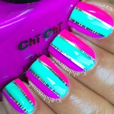 Love the stripes and the metallic tape looking things in between #nails