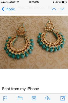 Kundan bali#blue#earrings