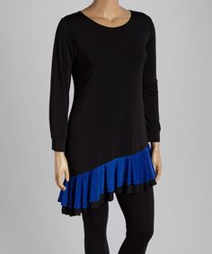 Look what I found on #zulily! Black & Royal Ruffle-Hem Tunic - Plus #zulilyfinds