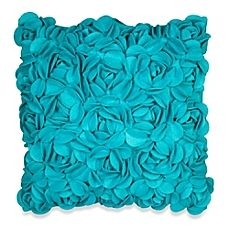 image of KAS® Luella 3D Flower Square Throw Pillow in Teal