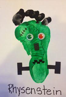 Frankenstein Footprint Art project-Rhys' monster, flat foot print made a perfect Frankenstein. :)