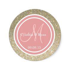 Gold Glitter and Coral Pink Wedding Monogram Classic Round Sticker