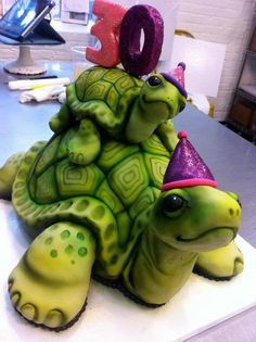 turtle cake is now actually a turtle