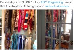 Perfect day for a $6.00, 1-Hour #DIY #organizing project that freed up lots of storage space. #closets #scarves.