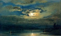 Johan Christian Dahl - Elb Landscape near Dresden in the Moonlight