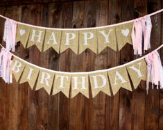 First Birthday One Lace Burlap Bunting Banner Sign with Pink Trim, for First…