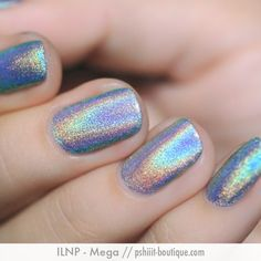 ILNP - Mega.| ILNP Spring 2014 | February 14, 2014 | MEGA is the mother of all holographic nail polishes, period.   It is not a top-coat. It's a full-blown 100% all-thriller, no-filler SpectraFlair nail polish.