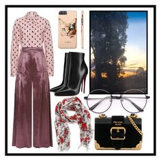 """Windy afternoon"" by lisacat ❤ liked on Polyvore featuring Temperley London, Peach Couture, Prada, Christian Louboutin and Kitty Kat"