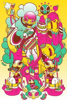Raul Urias Pop Surrealism, Illustrations Posters, Bunt, Graphic Design Illustration, Digital Illustration, Character Illustration, Cartoon Drawings, Cool Drawings, Street Art