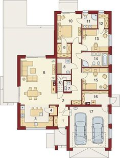 Projekt domu Domena 102 B 137,09 m² - koszt budowy - EXTRADOM House Plans, Floor Plans, How To Plan, House Floor Plans, Floor Plan Drawing, Home Plans