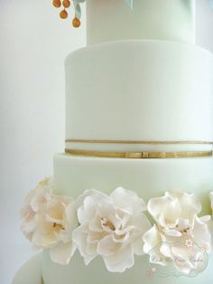 mint and gold wedding cake - Google Search