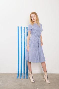 IMRECZEOVA striped shirt dress with button fastening 60 Degrees, Short Sleeve Dresses, Dresses With Sleeves, Striped Shirt Dress, Shoulder Dress, Button, Shirts, Fashion, Moda