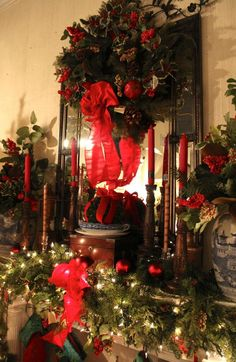 Colonial Designs * Holiday Decor * Lou What Wear Christmas Fireplace, Christmas Mantels, Cozy Christmas, Victorian Christmas, Beautiful Christmas, All Things Christmas, Christmas Holidays, Christmas Wreaths, Christmas Decorations