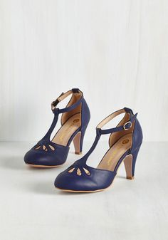 1920s style shoes: Aisle Come Running Heel in Navy $49.99 AT vintagedancer.com