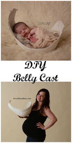 DIY Pregnancy Belly Cast, perfect newborn photo prop! #newbornpics #newbornphotos #momlife #pregnancy #prego