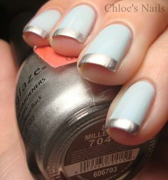 Hard Candy Sky & China Glaze Millenium for tips... goes so well with a tiffany gift box <3