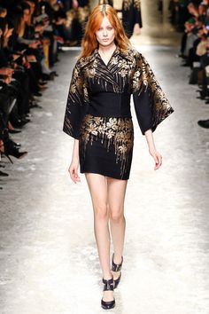 Blumarine | Fall 2014 Ready-to-Wear Collection   kimono with gold dripping flowers on a black field