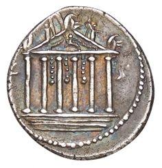 Denario - argento - Roma repubblicana (43 a.C.) - veduta frontale di tempio esastilo su podio - Münzkabinet Berlin