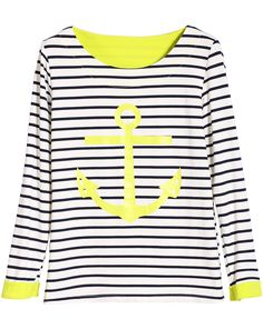 White Long Sleeve Striped Boat Print T-Shirt - abaday.com