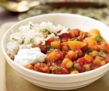 Clone of Moroccan Chickpea Stew: Made this on Mum's thermomix. Once the prep is done was quite quick. Pretty normal meal, but healthy and a good vegan option.