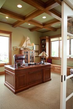 gray ceiling, sage walls   Gorgeous wood beamed ceiling along with the sage green color ...