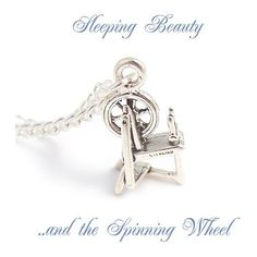 SPINNING wheel charm Sleeping Beauty necklace - Happily ever after... ($34) ❤ liked on Polyvore featuring jewelry, necklaces, sleeping beauty, curb chain necklace, sterling silver curb chain necklace, sterling silver charms, sterling silver charm necklace and star necklace