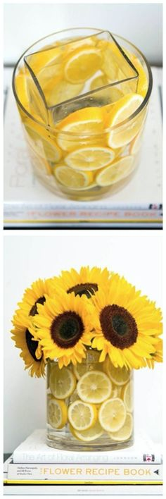 Flower Arrangement, Lemons, Sunflowers, Vase