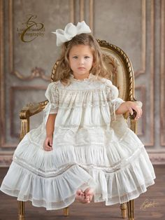 Flower Girl: Gorgeous Emory is wearing style 3002 design by Mela Wilson Heirloom Children's Clothing. Little Girl Dresses, Girls Dresses, Flower Girl Dresses, Flower Girls, Christening Gowns, Heirloom Sewing, Baby Sewing, Beautiful Children, Little Princess