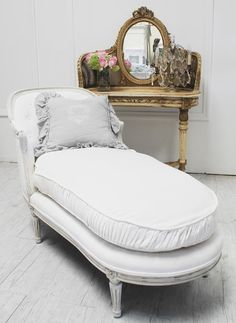 Chaise, down-fillled cushions covered in white linen...Full Bloom Cottage