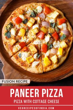 Paneer Pizza Recipe with step by step pics. This is a yum and delicious homemade pizza made with toppings of paneer and mix veggies. The recipe shared shows how to make the pizza dough and then bake the pizza in an oven. Paneer Recipes, Veg Recipes, Pizza Recipes, Indian Food Recipes, Vegetarian Recipes, Greek Recipes, Yummy Recipes, Cooking Recipes, Pizza