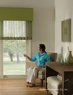 Lutron Sivoia QS Wireless Kirbé Vertical Drapery System is an industry first, drawing drapes in a vertical motion. See the Sivoia QS Wireless Kirbe design here. Drapery, Curtains, Honeycomb Shades, Wood Blinds, Fabric Shades, Design Awards, French Doors, Window Treatments, New Homes