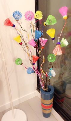 Spring home decor with used shuttlecocks