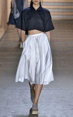 Satin Poplin Origami Shirred Skirt In White by Tibi for Preorder on Moda Operandi