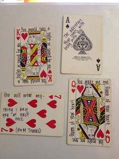 52 Things I Love About You: Old or new deck of cards, Sharpie to write 52 memories or cute quotes. Couldn't be easier or cheaper. Photo tutorial.