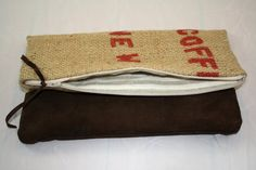 Foldover Clutch made of Repurposed burlap coffee sack with chocolate brown suede