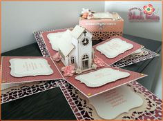 "Wedding Anniversary with Church & Neutral Colours Theme 5"" Exploding Box Card pinned with Pinvolve - pinvolve.co"