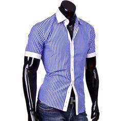 Рубашка Louis Fabel приталенная цвет голубой в полоску
