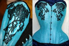 Overbust silk doupion electric blue with black lace