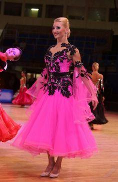 Pink Ballroom Dress w Black Designs - For Sale Selavidance.com