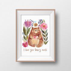 Bear Nursery Wall Art Printable I Love You Beary Much Nursery Room Decor  Bearu2026 Nursery