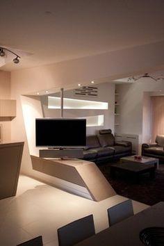Tv Room Divider Design Ideas, Pictures, Remodel and Decor - tv swivel mount master bedroom