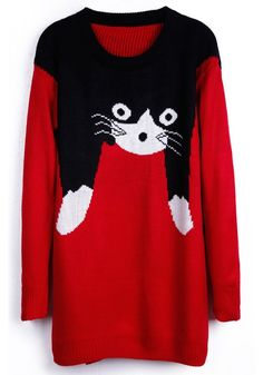 Red Cat Print Long SleeveThick Acrylic Sweater