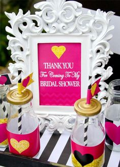 pink black and white bridalwedding shower party ideas
