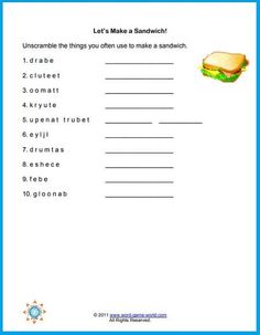 Here's a fun, simple word scramble for your kids to solve. It features ten sandwich ingredients. Visit our website and find lots more printable word games for kids! Spelling Worksheets, Letter Worksheets, Spelling Activities, Worksheets For Kids, Printable Worksheets, Printables, Printable Word Games, 3rd Grade Spelling, Word Games For Kids